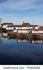 Norbury Junction, Shropshire.  United Kingdom.  10th January 2018.  Barges and buildings at Norbury Junction on the Shropshire Union Canal in England.  United Kingdom