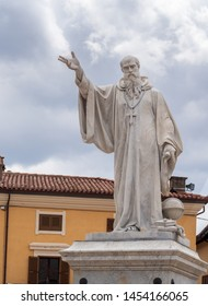 NORCIA, ITALY JULY 13, 2019: Three years after a devastating earthquake, much work still needs to be done. The statue of Saint Benedict in the square.