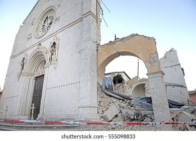 NORCIA, ITALY-NOVEMBER 30, 2016: San Benedetto's church destroyed by the earthquake, in Norcia.