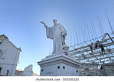 NORCIA, ITALY-NOVEMBER 30, 2016: San Benedetto's statue on the main square  destroyed by the earthquake, in Norcia.