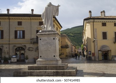NORCIA, UMBRIA, ITALY - MAY 28, 2007. Statue of St Benedict, father of western monasticsm, born in Norcia in 480AD. Norcia was hit by a 6,6 mag earthquake on 30 Oct 2016. The statue remained standing.