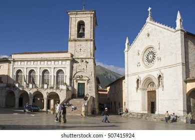 NORCIA, UMBRIA, ITALY - MAY 28, 2007. Main square with church of San Benedetto (14th-16th cent) & Palazzo Communale (city hall). Norcia was hit by a 6,6 mag earthquake on 30 Oct 2016, destroying both.
