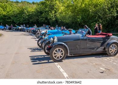 Norden, UK, 05/19/2017, fleet of vintage classic Bugatti Italian racing cars in car park