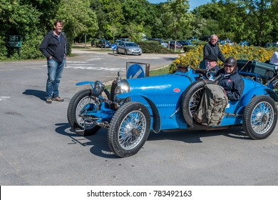 Norden, UK, 05/19/2017, Italian Bugatti vintage classic car in park and ride car park