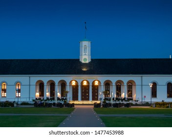 Norderney by night, ancient town hall called Kurhaus