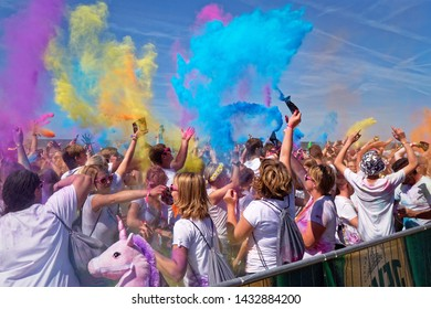Norderney, Germany, June 22, 2019 - Holi Beach Festival Tour 2019 on the island of Norderney