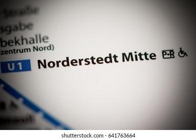 Norderstedt Mitte Station. Hamburg Metro map.