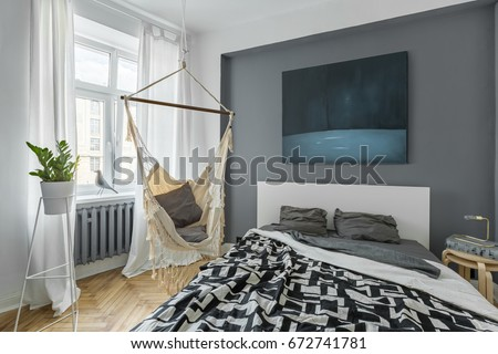 Nordic bedroom double bed hammock modern stock photo edit now
