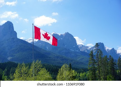 The Nordic Centre,Canmore,Alberta,Canada, The Canadian flag, mountains view
