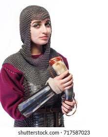 nordic girl warrior in chain mail, woman viking in historical battle armor, Middle Ages, close up portrait of beautiful scandinavian warrior viking ginger woman in metal medieval armor dress
