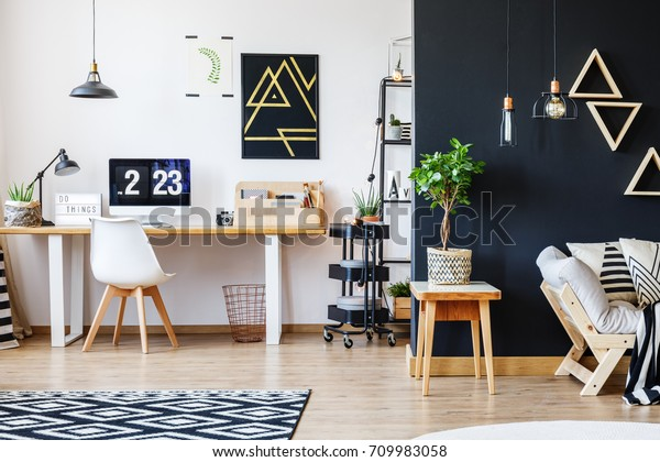 Nordic Natural Interior Stylish Open Studio Stock Photo Edit Now 709983058