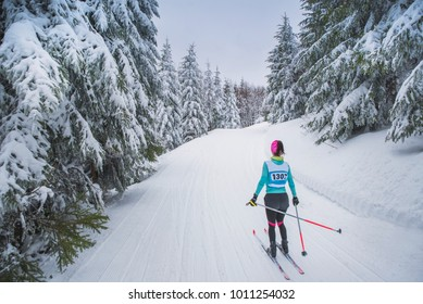 Nordic ski in beautiful winter nature. Female athlete in professional race. Winter scenery, edit space. Cross country skiing. Winter game Pyeongchang, South Korea.