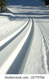A nordic ski track set in the Callaghan Valley