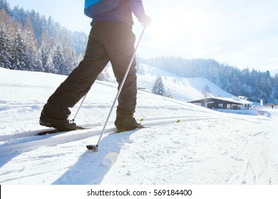 nordic skiing, winter holidays in Alps, cross country skier in mountains