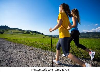 Nordic walking - active people outdoor