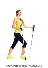 Nordic walking slim woman full length
