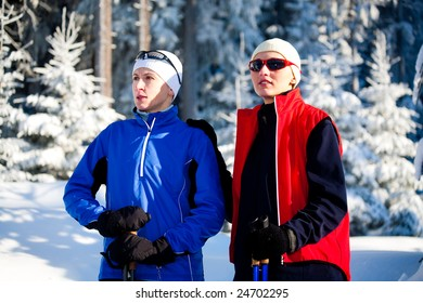 Nordic walking in the winter timer.