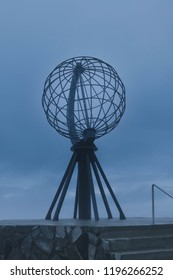 Nordkapp cape Magerøya, Finnmark / Norway - 9 August 2018 : North cape, Nortdkapp globe sculpture