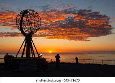 Nordkapp. Globe Monument at North Cape, Norway. Midnight at Nordkapp