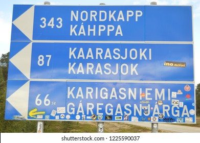 NordKapp Kahppa road sign Scandinavia