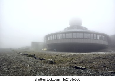 Nordkapp, Norway - 26 July, 2017: Nordkapp museum, cliffhanger and restaurant in summer foggy day. Nord cape, Finnmark, Mageroya island.