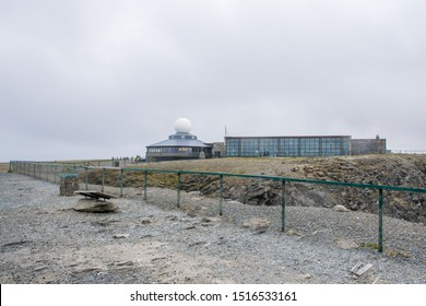 Nordkapp / Norway - July 2019: Nordkapp cliffhanger and museum-restaurant in summer cloudy day. Finnmark, Magerøya island.