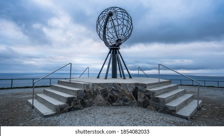 Nordkapp, Norway - June 2016: Globe monument at Nordkapp, the northernmost point of Europe