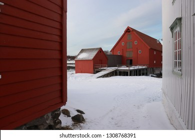 KJERRINGØY, NORDLAND COUNTY / NORWAY - FEBRUARY 09 2019:  Kjerringøy trading post is an open-air museum at Kjerringøy in Nordland. Heimbrygga is a building was used to store goods and equipment