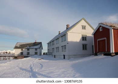 KJERRINGØY, NORDLAND COUNTY / NORWAY - FEBRUARY 09 2019: Kjerringøy trading post is an open-air museum at Kjerringøy in Nordland., Norway