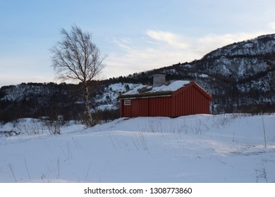 KJERRINGØY, NORDLAND COUNTY / NORWAY - FEBRUARY 09 2019: Kjerringøy trading post is an open-air museum at Kjerringøy in Nordland. Smia is the smithy where travellers could cook food