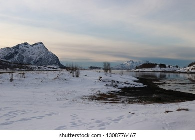 KJERRINGØY, NORDLAND COUNTY / NORWAY - FEBRUARY 09 2019:  Winter view from Kjerringøy trading post in the Norway