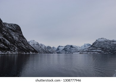 KJERRINGØY, NORDLAND COUNTY / NORWAY - FEBRUARY 09 2019:  Winter view on Festvåg gulf in the Norway