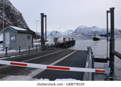 KJERRINGØY, NORDLAND COUNTY / NORWAY - FEBRUARY 09 2019: Norway sea ferry in the Nordland, Kjerringoy