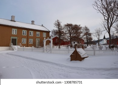 KJERRINGØY, NORDLAND COUNTY / NORWAY - FEBRUARY 09 2019: Kjerringøy trading post is an open-air museum at Kjerringøy in Nordland., Norway.