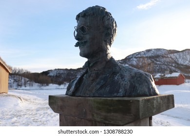 KJERRINGØY, NORDLAND COUNTY / NORWAY - FEBRUARY 09 2019:  Kjerringøy trading post. Statue of Knut Hamsun, a Norwegian writer, who was awarded the Nobel Prize in Literature in 1920
