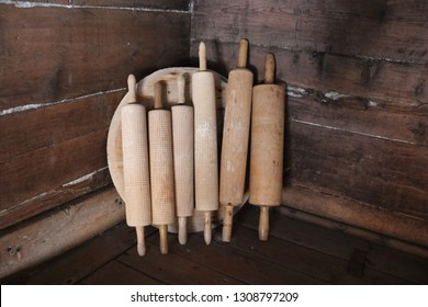 KJERRINGØY, NORDLAND COUNTY / NORWAY - FEBRUARY 09 2019: Kjerringøy trading post is an open-air museum at Kjerringøy in Nordland, Norway.  Rolling pins in the bakery