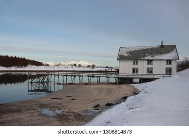 KJERRINGØY, NORDLAND COUNTY / NORWAY - FEBRUARY 09 2019:  Kjerringøy trading post is an open-air museum in Nordland. Krambua was the general store building. It has shop, office and storerooms