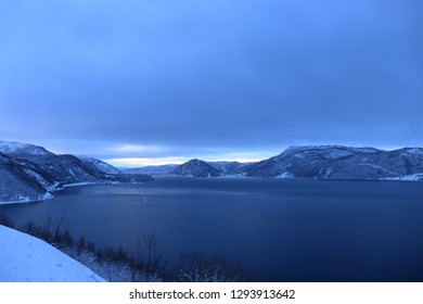 LØDING, NORDLAND COUNTY / NORWAY - JANUARY 19 2019: A winter view on the Skjerstad Fjord in the Norway