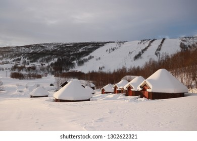 MISVÆR, NORDLAND COUNTY / NORWAY - JANUARY 27 2019:  Vestvatn Alpinanlegg is the ski resort in the Nordland province, Norway