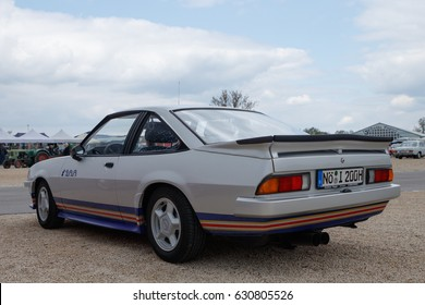 NORDLINGEN, GERMANY - APRIL 29, 2017: Opel Manta i200 oldtimer car at the MotoTechnika oldtimer meeting on April 29, 2017 in Nordlingen, Germany. Rear side view.