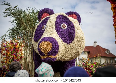 NORDWIJK, THE NETHERLANDS - APRIL 22, 2017: The Flower parade, Bloemencorso in Dutch, is an annual, colorful feast of beautiful flowers. The route is 42 kilometers, from Noordwijk to Haarlem.