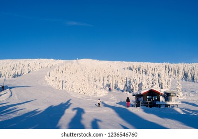Norefjell / Norway - January 2016: Gorgeous sunshine and fantastic downhill skiing slopes at the upper Boeeseter lift