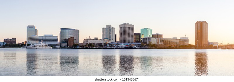 Norfolk, city in the state of Virginia, United States of America, as seen across the Elizabeth River, in the morning