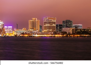 Norfolk - distant skyline. Norfolk, Virginia, USA.