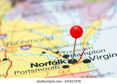 Norfolk pinned on a map of USA