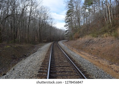 Norfolk Southern (former Memphis and Charleston Railroad) tracks in Big Hill Pond State Park Tennessee