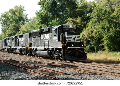 Norfolk Southern Locomotive along the Harrisburg Line that runs past Valley Forge National Historical Park in Valley Forge, Pennsylvania. (Photographed September 22nd, 2017)