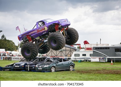 NORFOLK, UK - AUGUST 19th, 2017: Truckfest Norwich is a transport festival in the UK based around the haulage industry located in Norfolk. Monster Truck Slingshot at Truckfest Norwich UK 2017