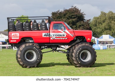 NORFOLK, UK - AUGUST 19th, 2017: Truckfest Norwich is a transport festival in the UK. Monster truck Mac Tools Cruiser originally came from Canada in the 1980's as a Dodge Ram pickup.