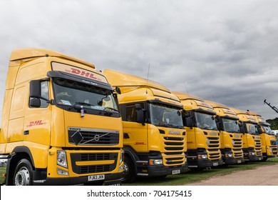 NORFOLK, UK - AUGUST 19th, 2017: Truckfest Norwich is a transport festival in the UK based around the haulage industry. Including trade stands and shows like Monster Truck. DHL delivery truck line up.